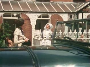 Francesca Annis and a nurse outside Wellfield House