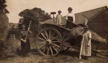 "Workers on Ridgebarn Farm, home to the Tomes family, in the 1910s or 1920s.  The name on the cart refers to ""Jack"" Tomes: Lil Tomes' father-in-law and Ken's grandfather."