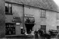 Annie Jackman kept this shop in Upper Church Street until 1903.  She ran the village Post Office as well as selling groceries and haberdashery.  Its rival was directly opposite - the Munday family shop, which remains today but under different management.
