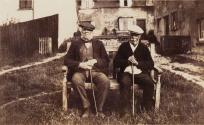 Harry Betts (left) and John Watson, Joan Underwood's grandfather, photographed in the early 1920s in a corner of the Lower Green.