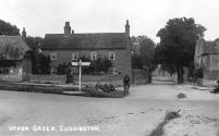 Ebenezer Cottage (now Southways) and the Upper Green from a 1920s postcard, when traffic was far lighter than today.  Most villagers walked or rode bicycles rather than taking journeys by car, and most of the village horses worked on the farms.