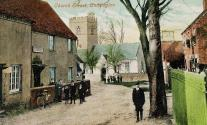 A view of Upper Church Street taken from a postcard sent in July 1905. On the left is the shop owned by Arthur Horsler, and on the right is the Red Lion public house, later renamed Annie Bailey's.